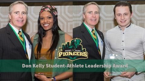 Ja'Nia McPhatter and Paul Carr with Point Park President Dr. Paul Hennigan at the Outstanding Student Awards (PPU Photo).