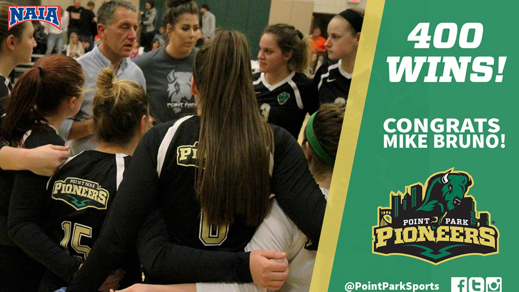 Point Park's Bruno wins 400th career match with victory over WV Wesleyan