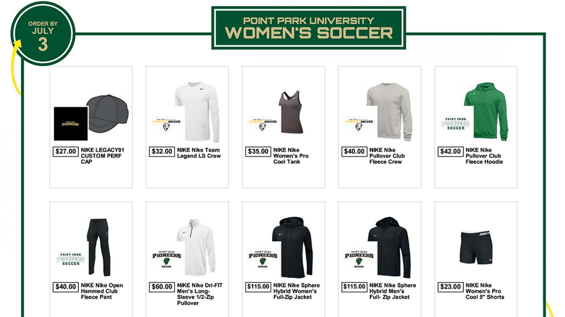 Point Park Women's Soccer Team Store Now Open