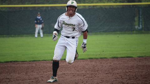 Point Park's Danny Sanchez races to third base on a triple to leadoff the 9th. Photo by Robert Berger.