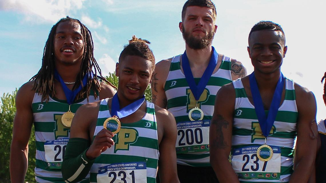 Point Park's 4x100 Relay team at the RSC meet April 29.