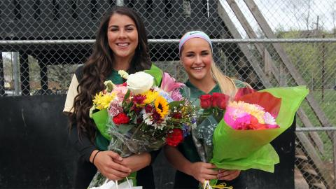 Becca Babincak and Alyssa McMurtrie celebrated Senior Day before the DH. Photo by Sam Robinson