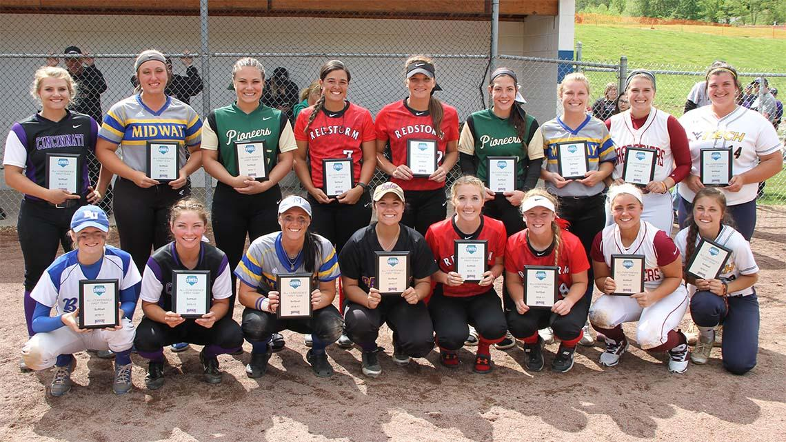 The All-River States Conference Softball First Team. Photo by Dylan Brown