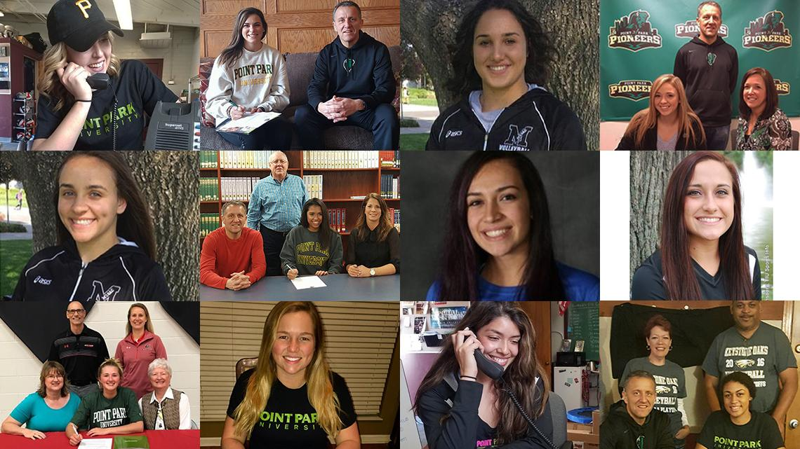 Point Park volleyball 2017 signees. Submitted Photos.
