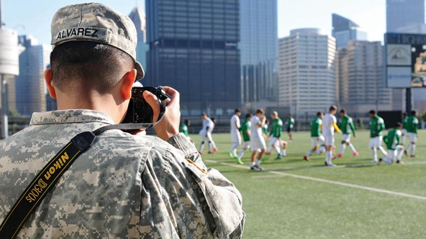 354th MPAD covers Men's Soccer game for training exercise