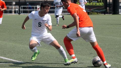 Point Park's Yuki Takeda in a game Sept. 16. Photo by Sam Robinson.