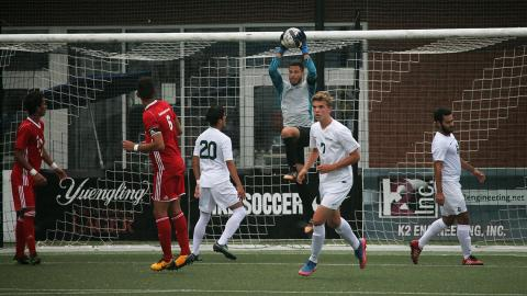 Point Park GK Juan Somoza makes one of his 10 saves vs. FNU. (Photo by Sam Robinson)