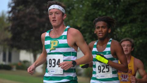 Tanner Wilcox (left) and Dannys Marrero were two of the top finishers for Point Park. Photo by Robert Berger.