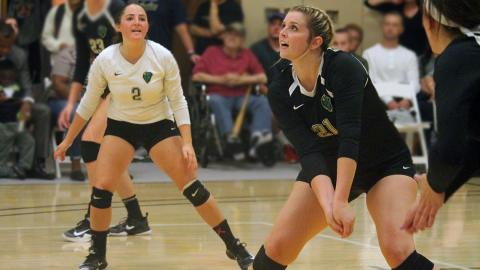 Erica Gumz (right) led with 12 kills, Morgan Dangelo (left) had a team-high 19 digs. Photo by Sam Robinson.