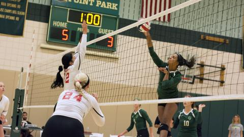 Jazlyn Rozier goes up for an attack versus Rio Grande. Photo by Nathan Gentry.