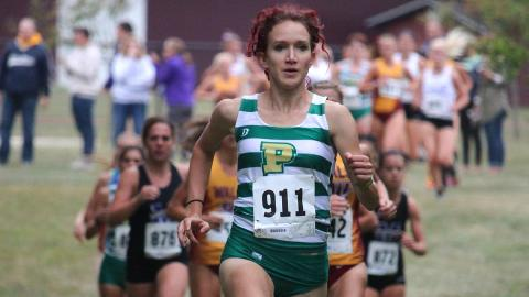 Anna Shields leading the pack at Walsh on Friday. (Photo by Robert Berger).